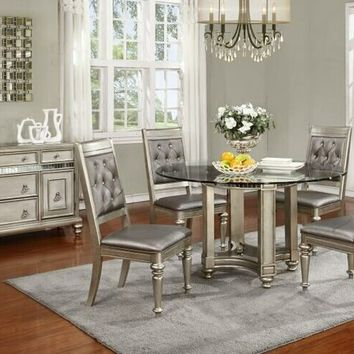 5 pc Danette II collection metallic platinum finish wood round glass top dining table set