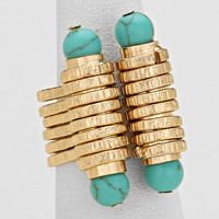 Natural Stone Turquoise Gold Cuff Ring