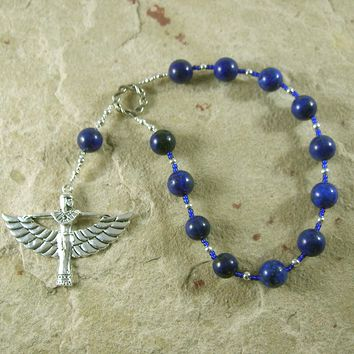 Isis (Aset) Pocket Prayer Beads in Lapis Lazuli: Egyptian Goddess of Magic, Wisdom, Motherhood