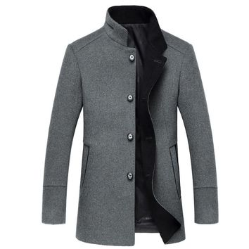 winter Men's fashion high quality wool jackets trench coat Men single breasted Mandarin collar windbreaker woolen overcoat