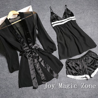yomrzl summer sexy lace women's pajama set black gauze sleep set sexy lingerie Valentine's Day gift L510