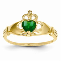 14k Yellow Gold CZ May Birthstone Claddagh Heart R