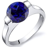 Created Sapphire Bezel Ring Sterling Silver Rhodium Nickel Finish 2.75 Carats Sizes 5 to 9