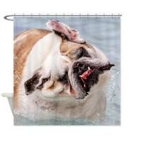 Custom printed English Bulldog Shower Curtain