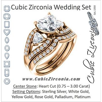 CZ Wedding Set, featuring The Karen engagement ring (Customizable Enhanced 3-stone Design with Heart Cut Center, Dual Trillion Accents and Wide Pavé-Split Band)