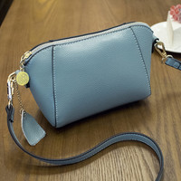 Fashion Women Blue Genuine Leather Shoulder Bag Female Casual Crossbody Messenger Bags Chic Handbag Gift 38