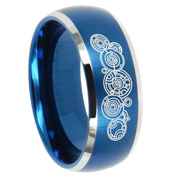 8mm Doctor Who Dome Brushed Blue 2 Tone Tungsten Carbide Mens Ring Engraved