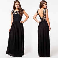 Sexy Dress Club Wear 2016 Summer Lace Party Dress Solid Sleeveless Hollow Out Off Back Floor Length Maxi Dress Vestido De Festa