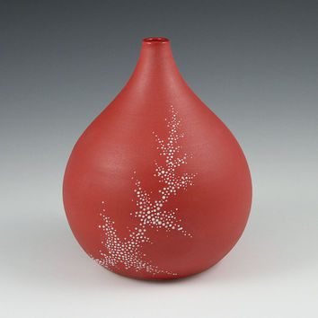 Short Pebble Vase in Red