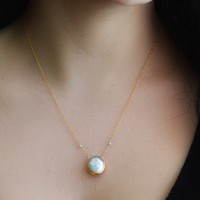 $47 22k Gold Vermeil White Freshwater Pearl Necklace by delezhen
