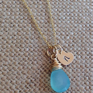 Gold heart tag with initial and aqua chalcedony wire wrapped gemstone necklace. Name tags necklace. Initial tags. Kids names necklace. Gold.