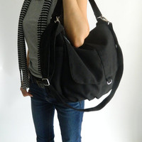 SALE - Daniel in Black // Shoulder bag / Messenger / tote bag / hobo / Diaper bag / Handbag / For Her / new Mom / Women