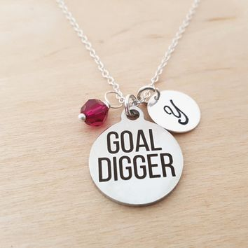 Goal Digger Necklace - Success Necklace - Birthstone Necklace - Personalized Gift - Initial Necklace - Sterling Silver Necklace