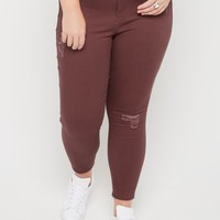 Plus Plum Distressed High Rise Better Butt Skinny Pant | Plus Pants | rue21