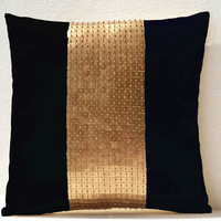 Decorative Throw Pillows - Black gold color block silk and sequin bead detail cushion - embroidered pillow cover-18X18 black pillow -gift
