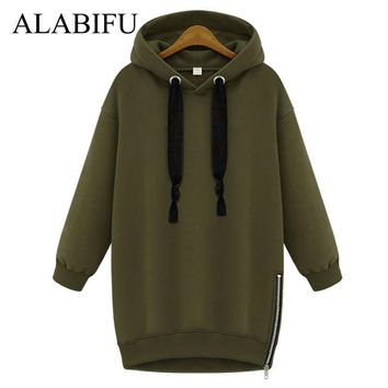 ALABIFU Long Autumn Winter Dress 2018 Women BF Hoodies Sweatshirts Dress Casual Zipper Plus Size harajuku Jacket Coat Ladies BTS