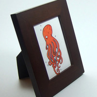 cute octopus ACEO print illustration orange and blue