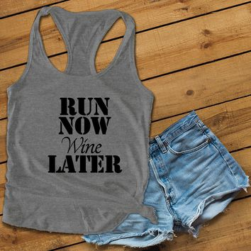 Run now wine later Women's Ideal Racerback Tank