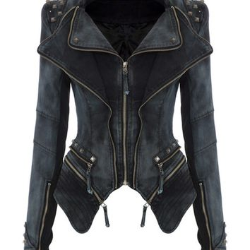 New Hot 2017 women winter Outwear Punk spike studded shrug shoulder cropped VINTAGE Jacker Denim jacket coat S-XL 29
