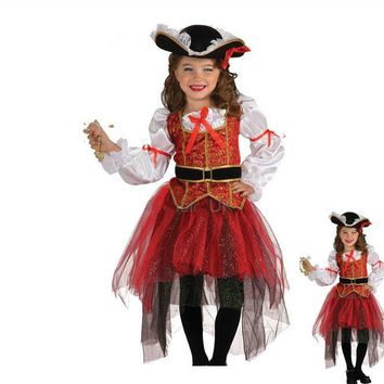 Halloween Christmas pirate costumes girls party cosplay costume for children kids clothes