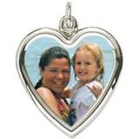 Large Heart Charm In 14K White Gold