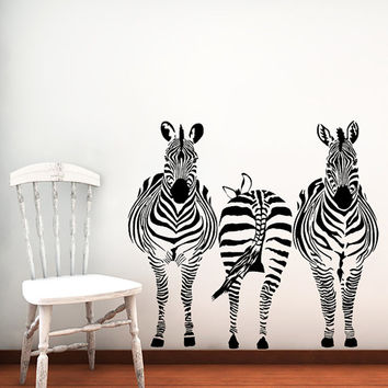 Wall Decals Zebra Animals Jungle Safari African Childrens Decor Kids Vinyl Sticker Wall Decal Nursery Bedroom Murals Playroom Art SV6121