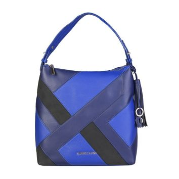 "Multicolor Blue Vegan Patchwork Leather ""Versace Jeans"" Handbag Purse"