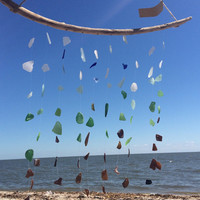LARGE Colors of the Ocean genuine Texas Sea Glass Wind Chime, sea glass windchime, beach glass windchime, sea glass art, driftwood
