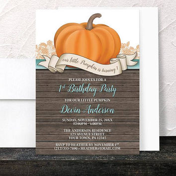 Pumpkin 1st Birthday Party Invitations - Rustic Wood Orange Teal and Brown - Printed Invitations
