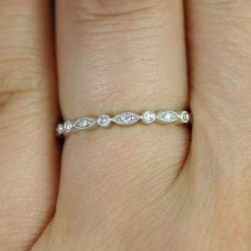 Ultra Petite Bead & Eye 14kt White Gold Vintage WITH Hand Milgrain Beading FULL Eternity Band (Available in other metals)