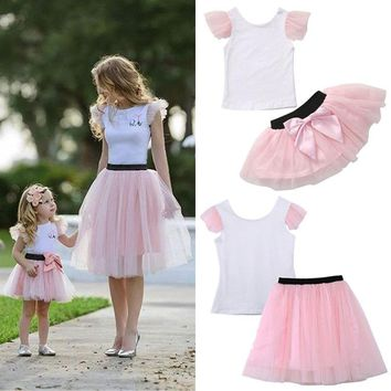 Pudcoco Mommy and Me Top & Skirt Matching Tulle Set