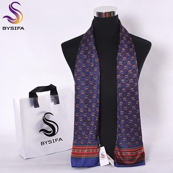 [BYSIFA] Fashion Men Business Scarves New Design Dot 100% Pure Silk Male Long Scarves Winter Keeping Marmth Navy Blue Neck Scarf