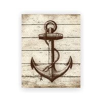 Anchor Print Wood Print Rustic Art Beach Nautical Print Beach House Sea Ocean Print 5x7, 8X10, 11x14 Home Decor Wall Decor Nautical Wood