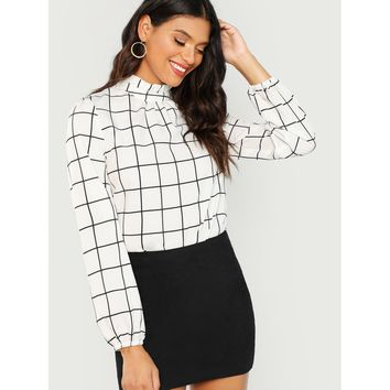 Frilled Collar Grid Top