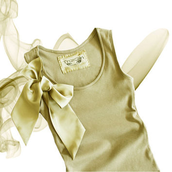 Tank Tan Retro Satin Shoulder Bow Valentino by tratgirl55 on Etsy