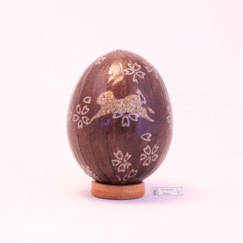 Brown easter egg, Japanese washi Chiyogami paper, decorative egg, easter ornament, decoupage chicken egg, bunny, rabbit, brown and gold