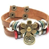 Leather Cuff Bracelet with Bronze Flower, Coin, Wood and Metal Beads