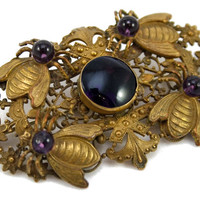 Victorian Bee and Amethyst Sash Pin - 1880s - 1890s