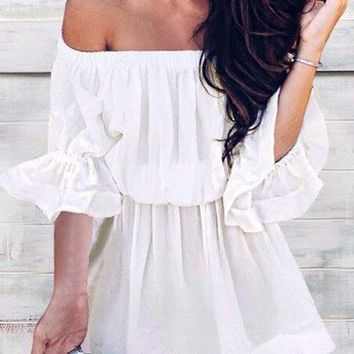 White Off-the-shoulder Half Sleeves Mini Dress