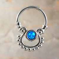 16 Gauge Tribal Blue Opal Septum Ring Daith Hoop
