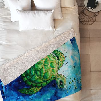 Madart Inc. Sea of Whimsy Sea Turtle Fleece Throw Blanket