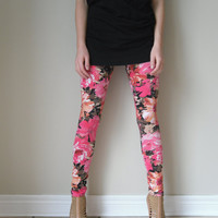AERIAL leggings in floral print xs s m l by birdapparel on Etsy