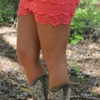 Junior Plus Size Gum Drop Lace Shorts in coral