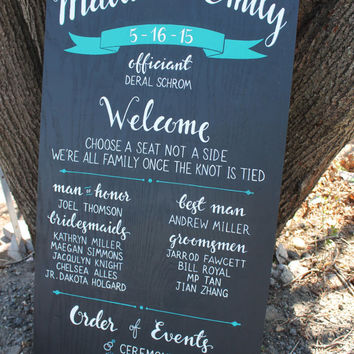 "Custom Wedding Program Sign | wedding signage | hand painted wedding sign | 24"" x 48"""