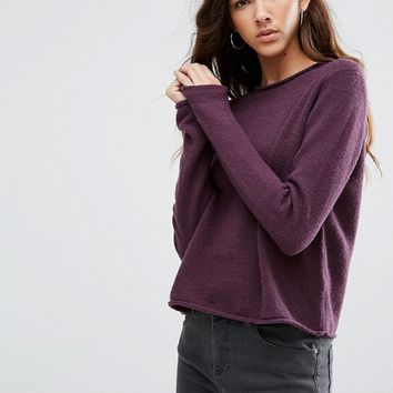 ASOS TALL Cropped Jumper with Rolled Edge Detail in Fluffy Yarn at asos.com