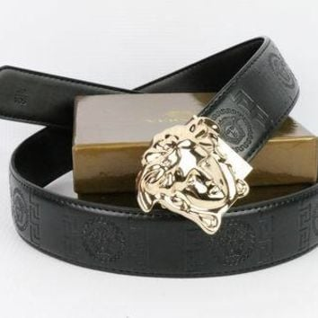 Versace Collection Men's Black Leather Belt
