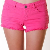 HOT-PINK COLORFUL CUTOFF SHORTS @ KiwiLook fashion