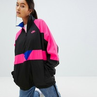 Nike Vaporwave Wave Half Zip Track Jacket In Black With Colour Block at asos.com