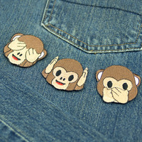 See No Evil, Hear No Evil, or Speak No Evil Monkey Emoji Embroidered Iron On Patch - FREE SHIPPING