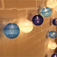 Blue Tone Cotton Ball String Light 10/20/30-Led Handmade Lanterns light string Home Decor Party Wedding Dancing String Lights